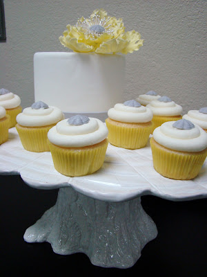 yellow cupcakes with vintage gray buttons