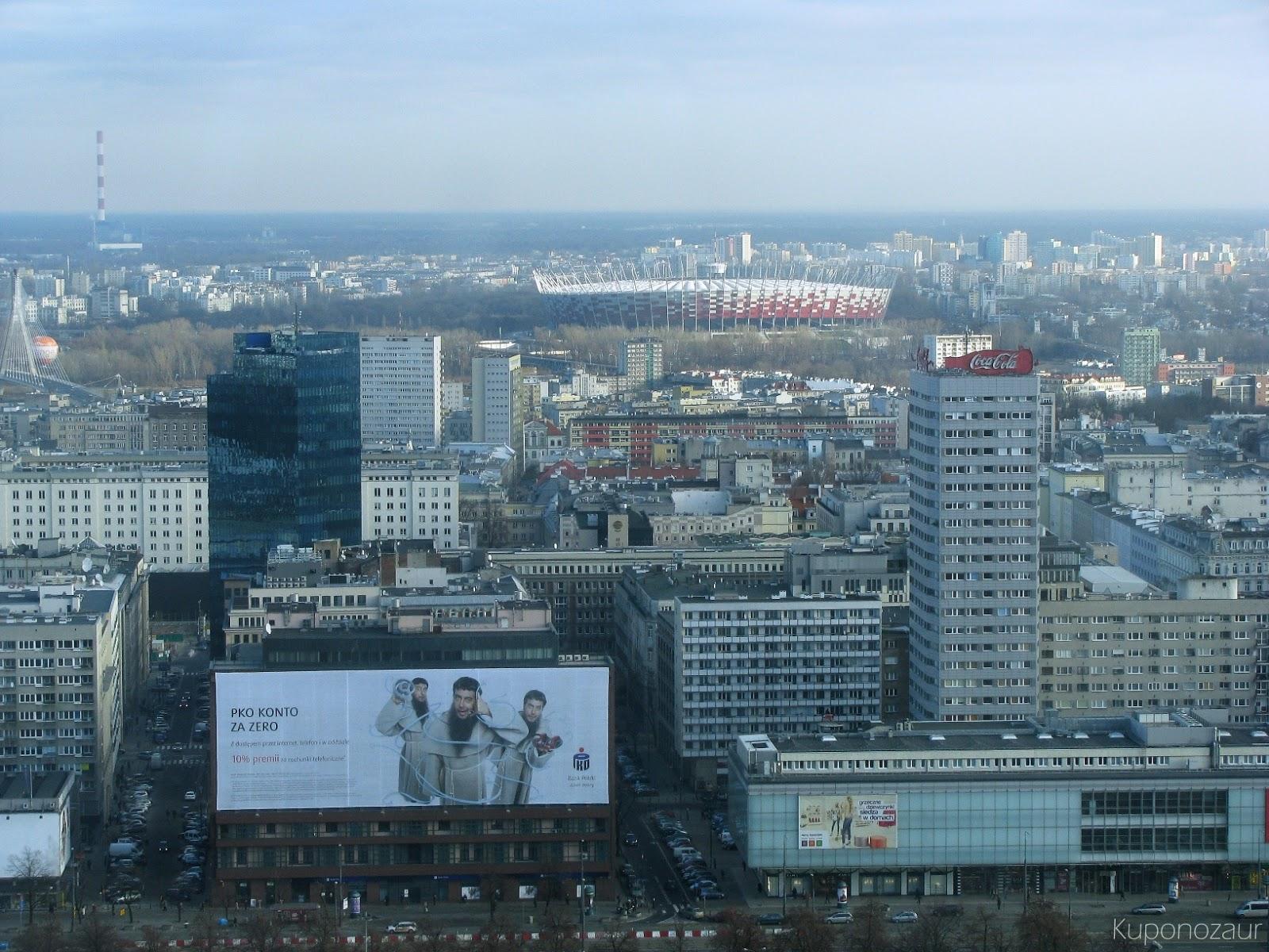 InterContinental Warszawa Stadion Narodowy w oddali