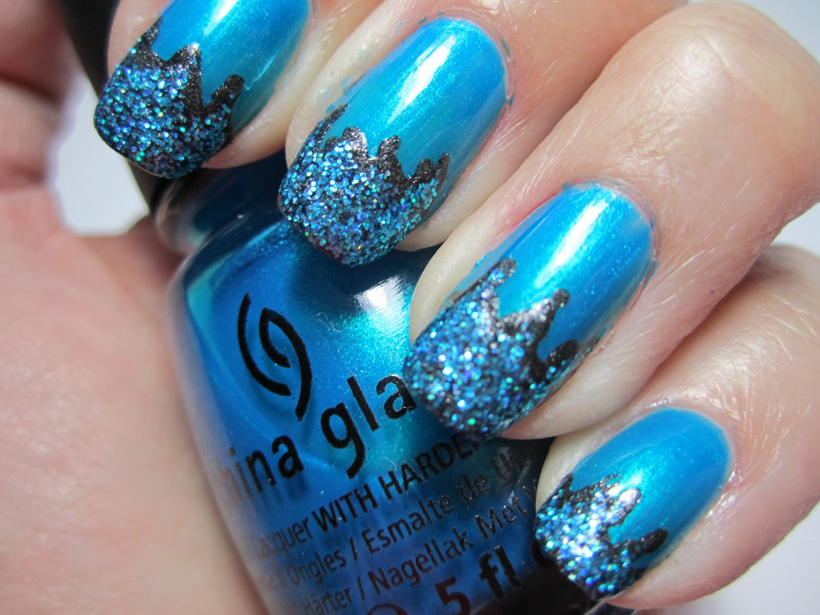 Colorsplash Nails: Teal Tuesday: Glitter Freestyle Tealicure