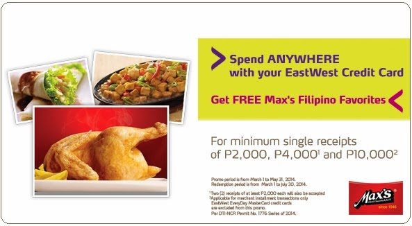 EastWest Bank Credit Card Promo, FREE Max's Filipino Favorites