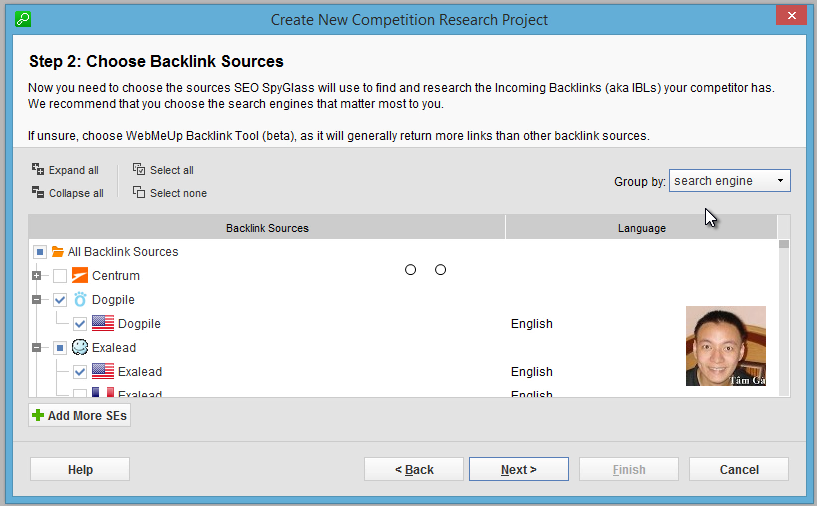Seo-SpyGlass Step 2 : Choose Backlink Sources