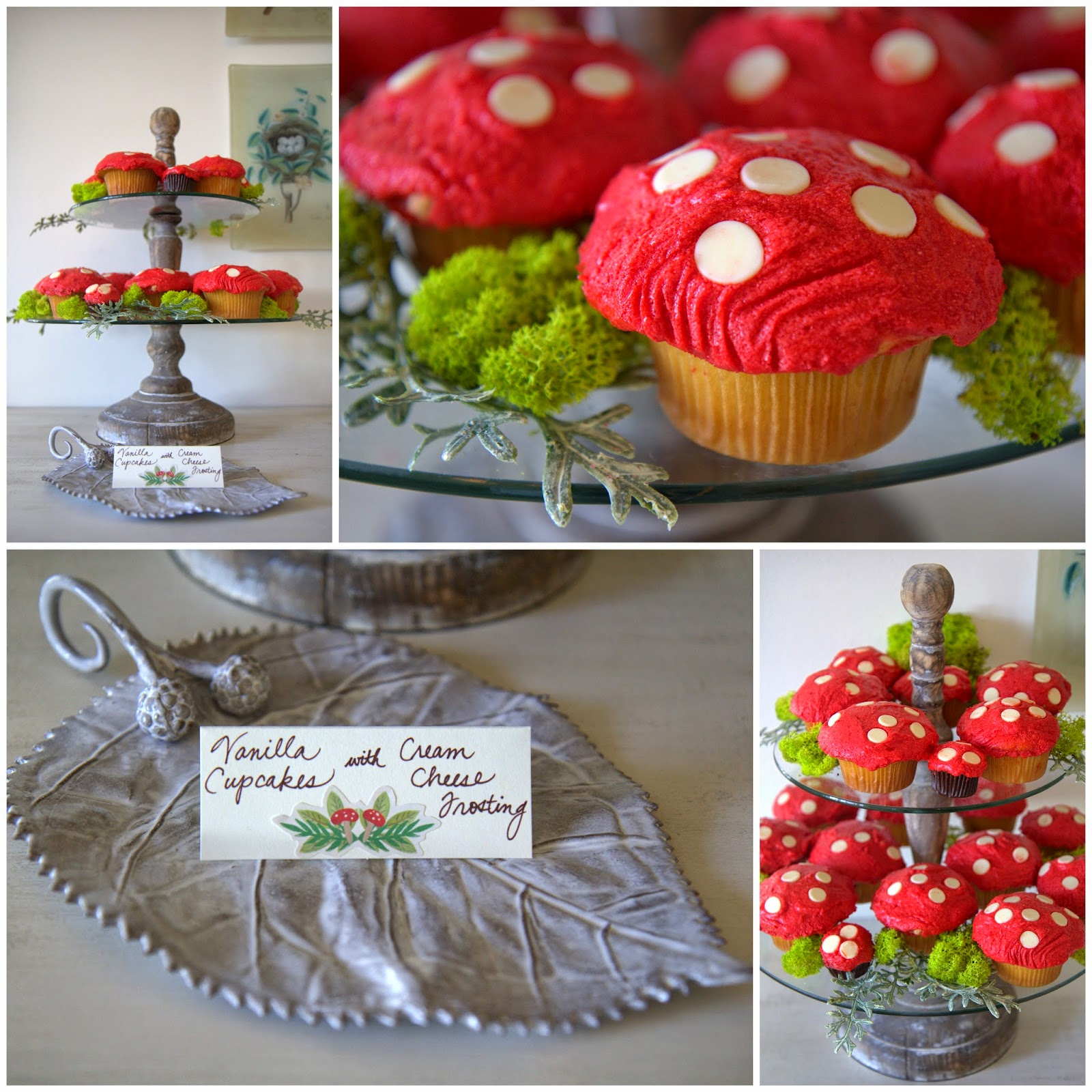 Woodland Party; Red Mushroom Cupckaes and ceramic leaf; dessert, party food: Nora's Nest