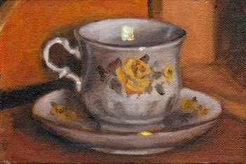 Oil painting of a Queen Anne teacup and saucer with a yellow floral pattern.