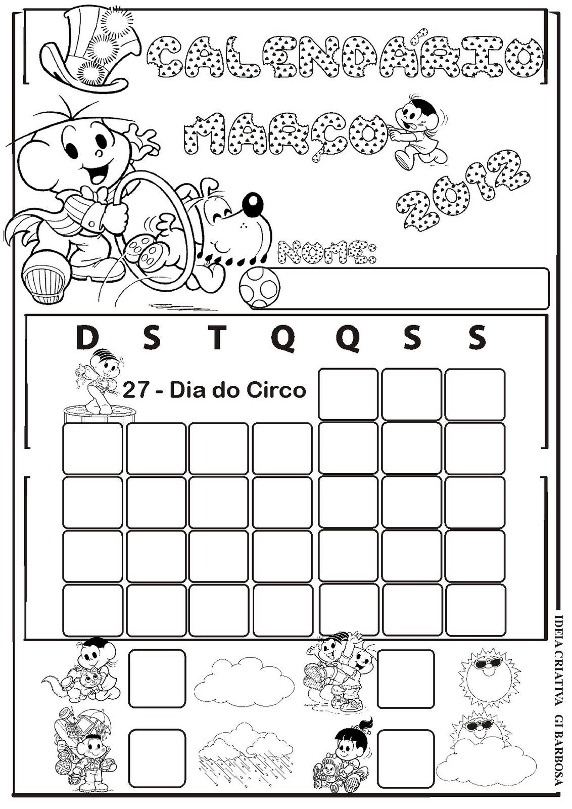 ... de elaborar os calendários de março 2012 turma da mônica pra