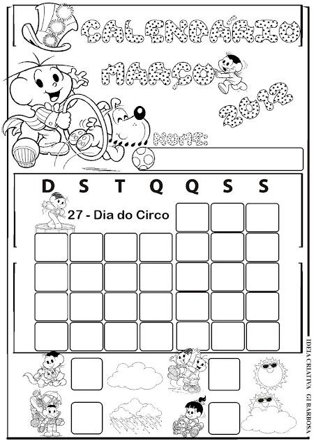 ... de elaborar os calendarios de marco 2012 turma da monica pra colorir