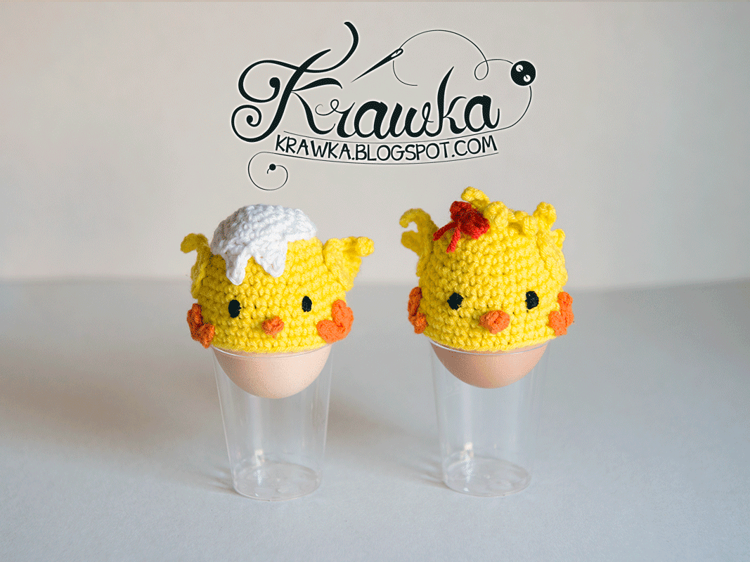 Krawka: Table decoration little yellow chicks - Easter egg cozies - Free crochet Pattern to make it yourself