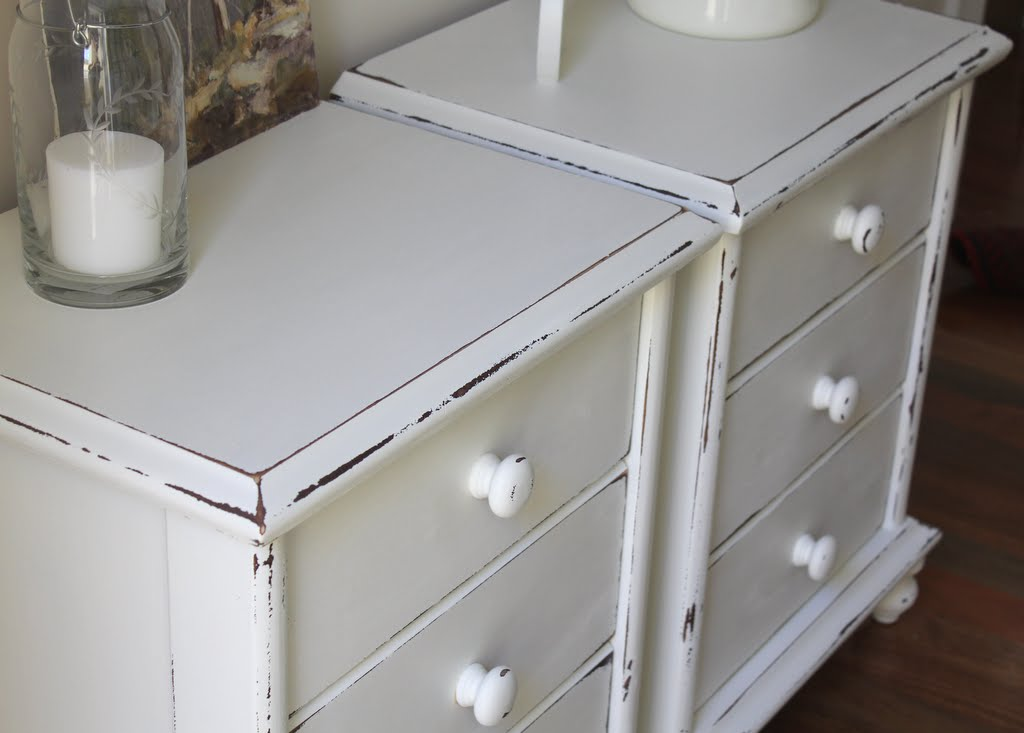 shabby chic white painted bedside tables for sale Sydney Lilyfield ...