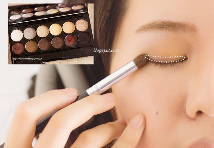 agar mata terlihat fresh dan cerah gunakan lagi warna nougat di ujung dalam