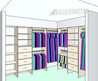 Sketsa desain lemari pakaian sudut