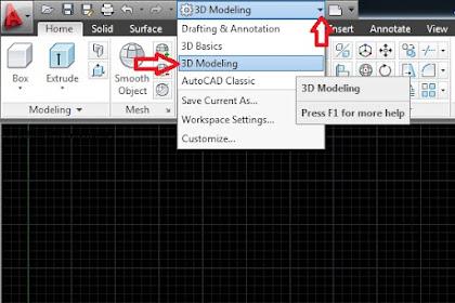 3D Modeling workspace atau Ruang kerja 3D Modeling