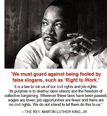Photo Credit- The Stand.org - MLK was against Right to Work for Less