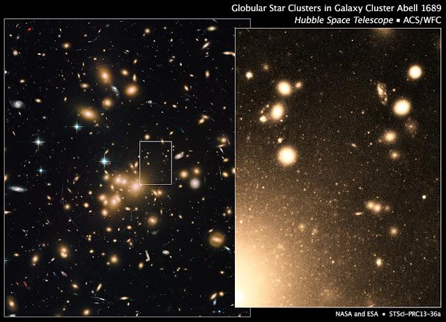 แกนหนาแน่นของการจัดกลุ่มยักษ์ของกาแล็กซีAbell 1689