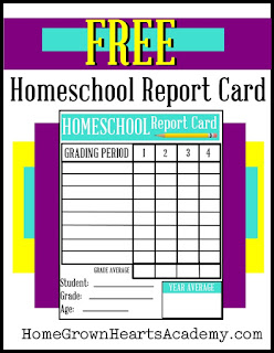 Free Homeschool Report Card from HomeGrownHeartsAcademy.com