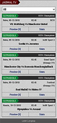 Jadwal Pertandingan Sepak Bola Televisi