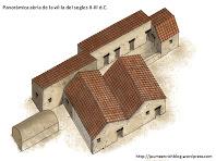 Panoràmica aèria de la vil·la dels segles II-III d.C. amb algunes estructures anteriors i posteriors. Autor: Jaume Enrich