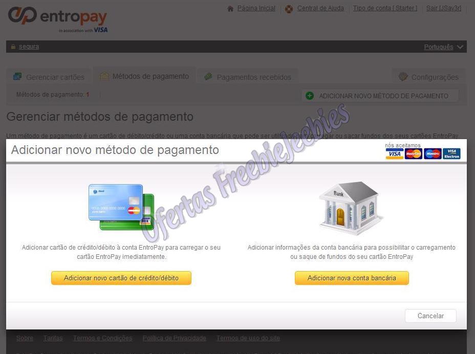 EntroPay tutorial freebiejeebies adicionar cartão crédito