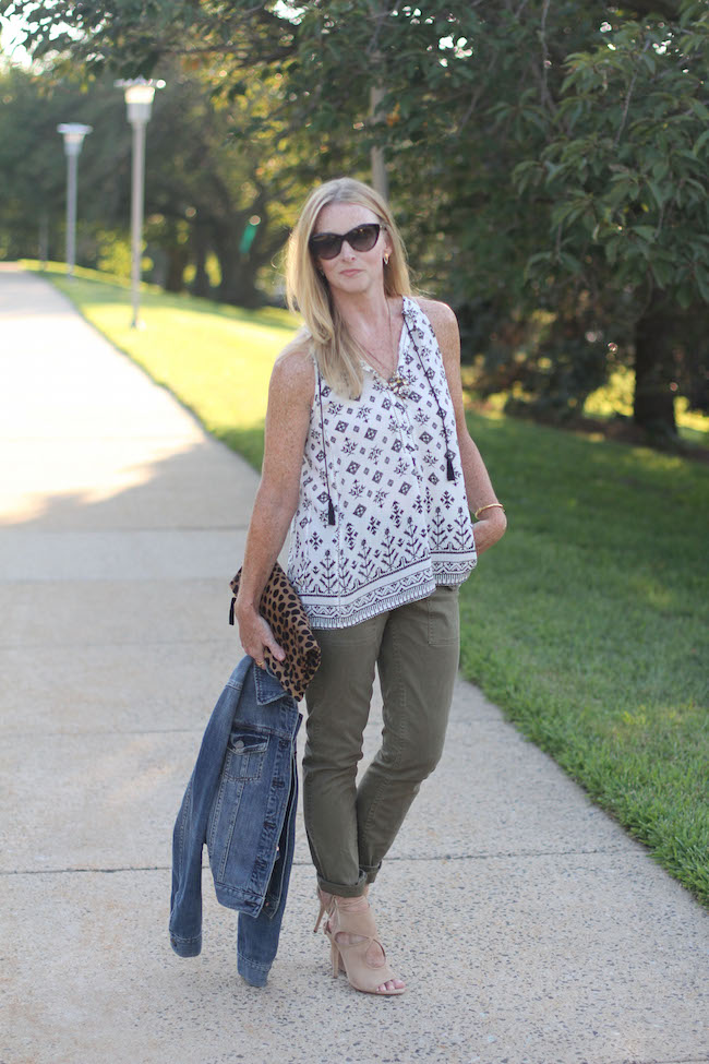 joie top, jcrew pants, jcrew jacket, aquazurra heels, saint laurent sunglasses, clare v clutch