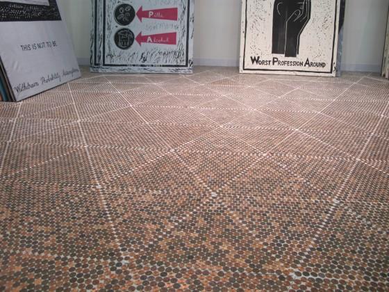 Coffee table top on pinterest pennies floor pennies and for Floor of pennies