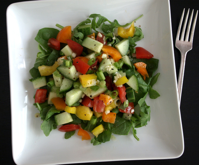 ... salad with sprouts miso lemon dressing chopped vegetable salad with
