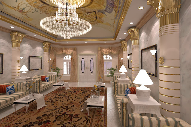 Arabic design, award winning designs, best interior designs, Chandelier, dubai interior, lobby design, majlis design, Private Villa, The First ferry,