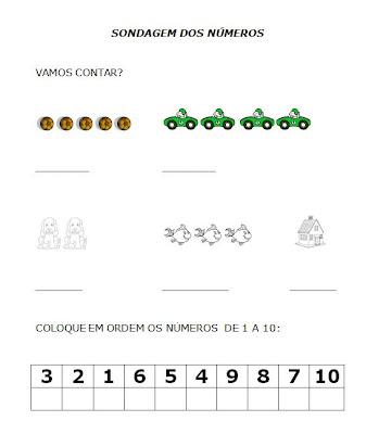 Educação Infantil Atividades - Sondagem de números - Educação Infantil