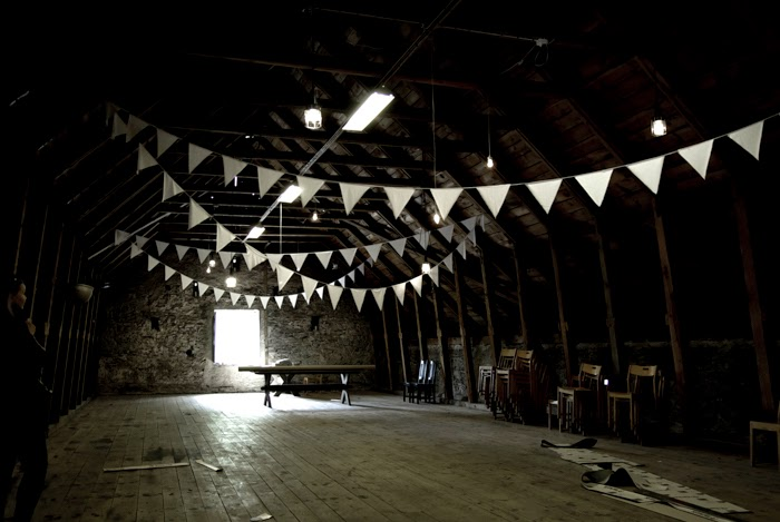 bunting, old house, festive place