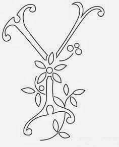 Y flower calligraphy monogram tattoo stencils