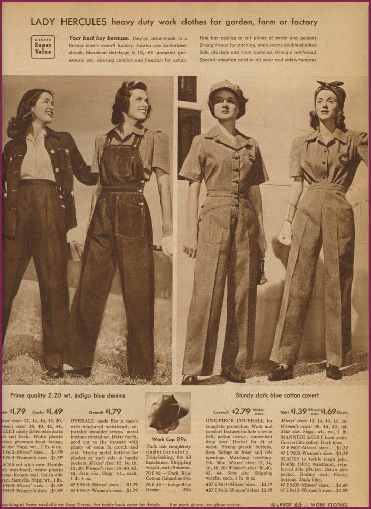 Abbigliamento femminile da lavoro durante gli anni '40