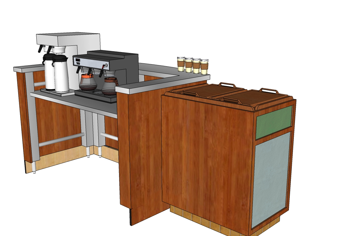 3d image maker for the coffee shop counter table created by google sketchup drawing and graphics Tables for coffee shop