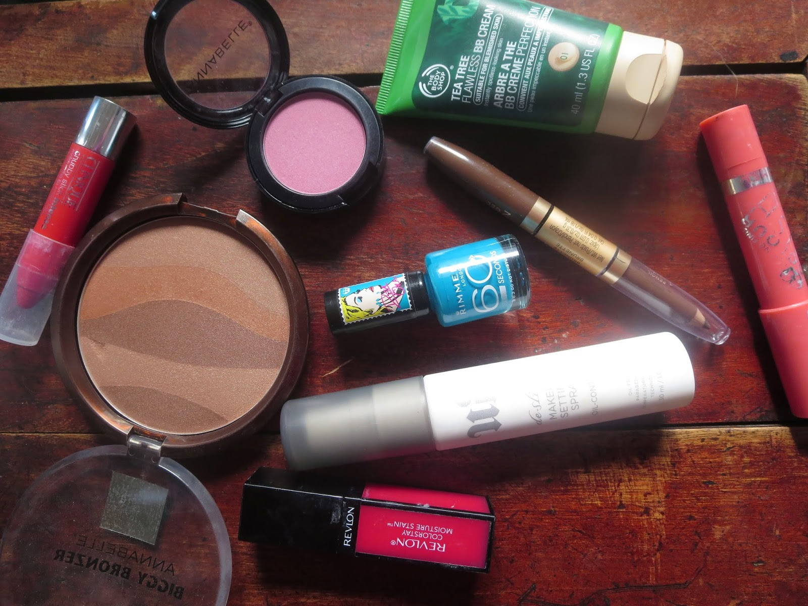 A picture of beauty product favorites for the month of august 2014