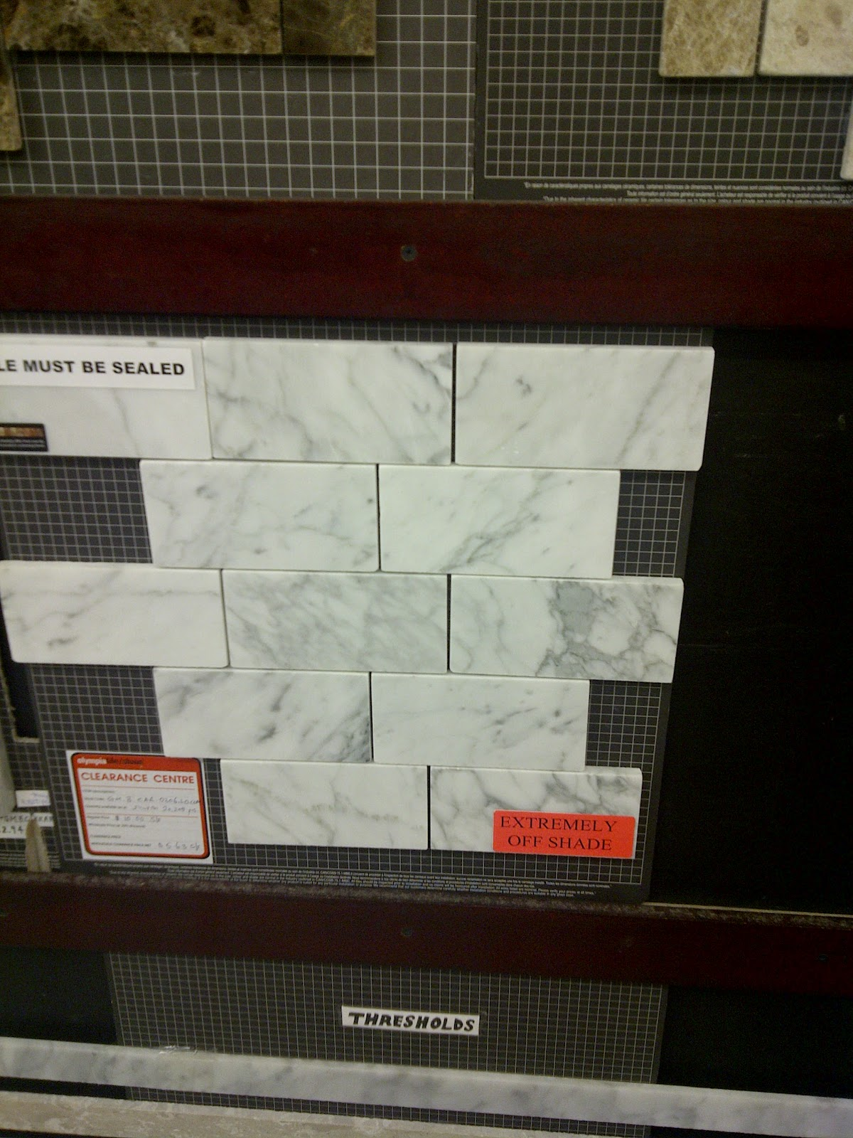 Love this vein y white and grey tile  I found this in the discount centre   It is  5 63 per sq foot  but that  extremely off shade  warning scares me. Waffling  The Great Canadian Tile Hunt