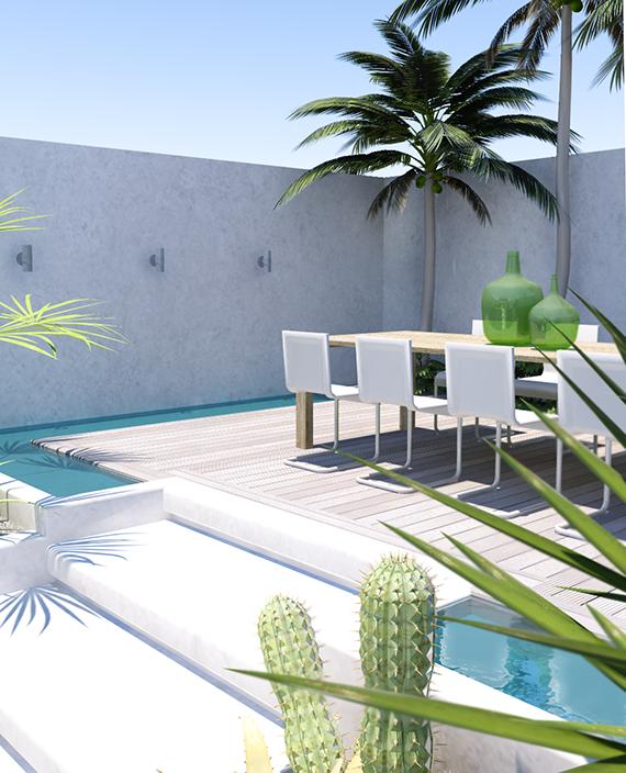 Quintal tropical contemporâneo.  Projeto e visualização 3D por Eleni Psyllaki para meu Paradissi