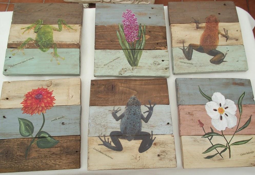 Trastos en el doblao: Seis cuadros con madera de palés.