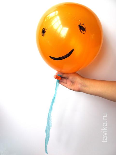 воздушный шарик с хвостом - детская поделка