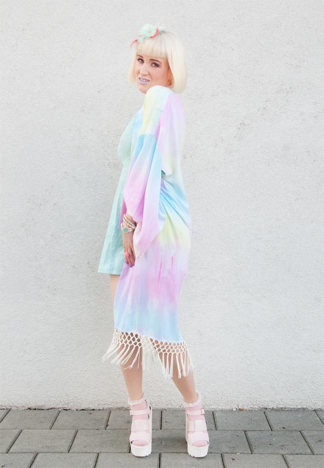 pastel kimono, rainbow kimono, house of trendella