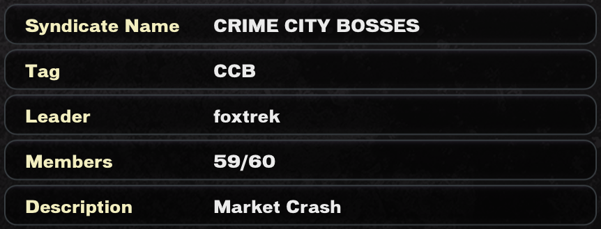 crime city bosses syndicate name crime city bosses tag ccb