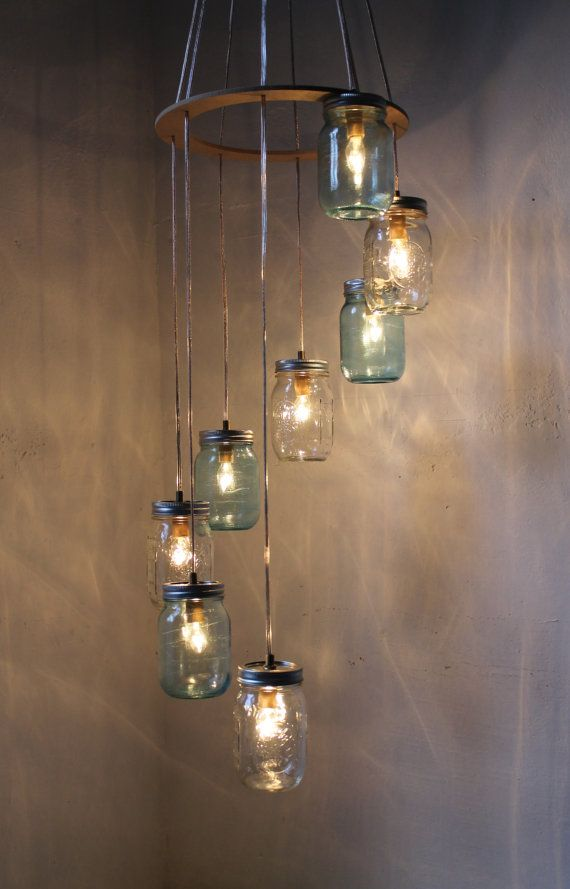 Waterfall Spiral Mason Jar Chandelier