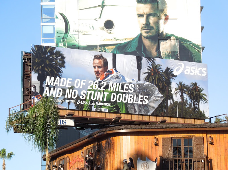 Asics Made of 26.2 miles and no stunt doubles billboard