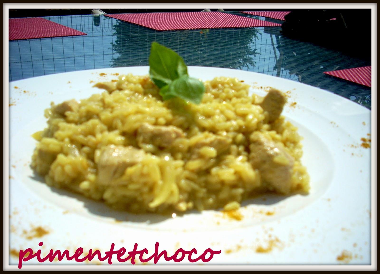 Piment choco risotto de volaille au curry for Plat pour recevoir des amis