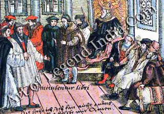 In defiance of the Emperor, In 1521 Luther was summoned to the Diet of Worms to appear before Charles V, but the Emperor could not get him to change his ideas. The Diet denounced Lutheran heresy and placed Luther under imperial ban, making him an outlaw of both church and state.