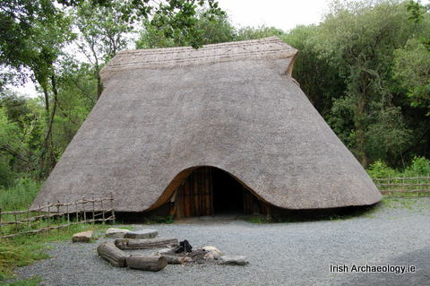 Reconstructed Large Neolithic Irish House Note The Elegant Roof Line And Vents On Either Gable To Remove Smoke From Central Hearth Via Strong
