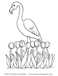 Coloring Page Of Pink Flamingo