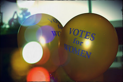 Ballons reading, 'Votes for Women'