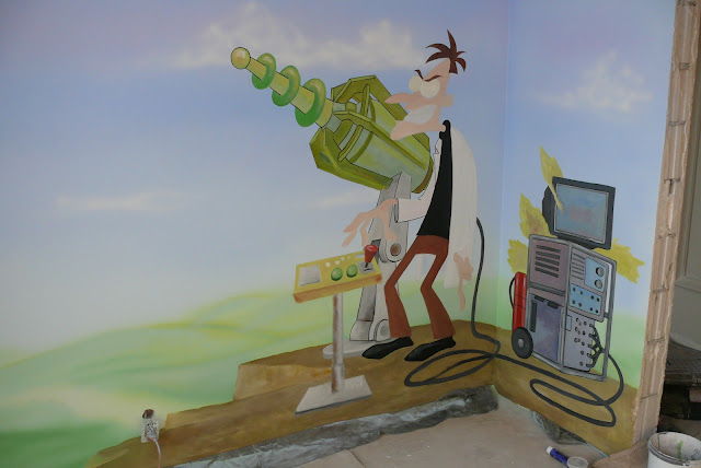 Malowanie na ścianie kolorowego motywu z bajki, grafika ścienna 3D w pokoju chłopca. Warszawa