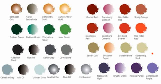 Tabla de colores de los Caballeros de la Muerte de los Ángeles Oscuros