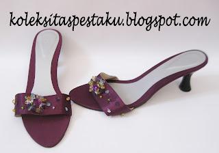 Sandal Pesta Ungu Cantik Mewah