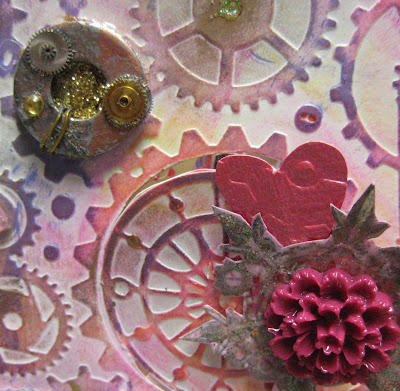 Valentines steampunk card close up