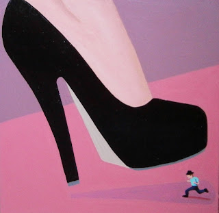 A shrunken man and a woman in black high heels