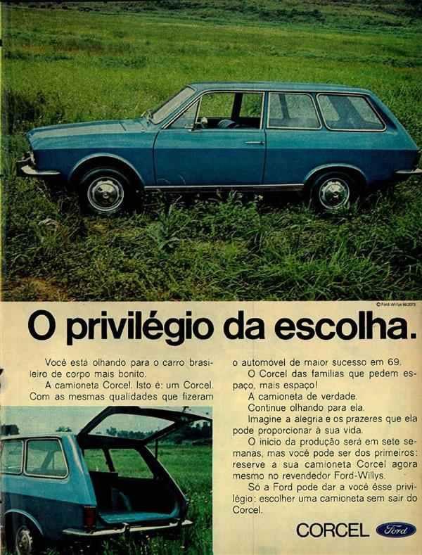 Propaganda do Ford Corcel em 1969: amplo espaço interno e do bagageiro.