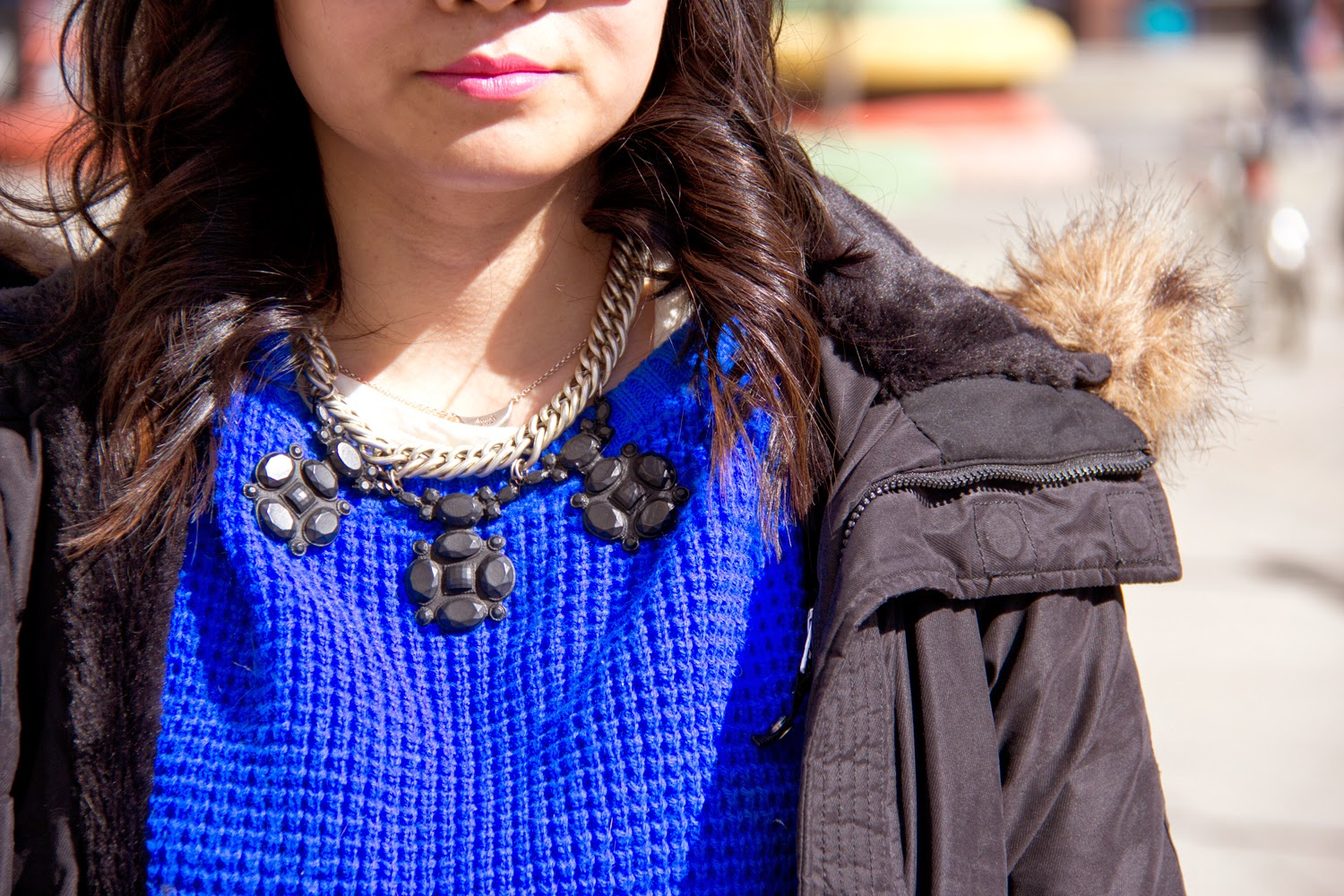 Statement-Necklace, Neon-Blue-Crop-Top, Parka, Coat, Street-Style